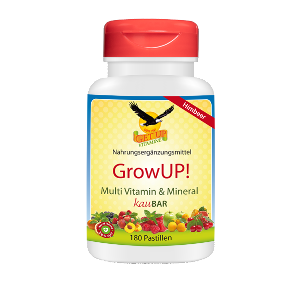 Kindervitamine & Mineral Kaupastillen GrowUP! Himbeer Tropical mit Xylit, 180 Stk